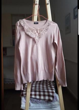 Женская кофта с кружевом розовая свитер кардиган блузка рубашка гольф джемпер