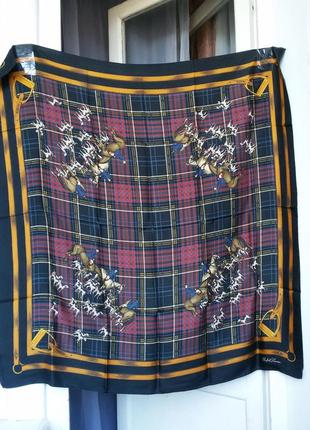 Винтажный шелковый платок ralph lauren equestrian horse 100% silk scarf fox hunt dog