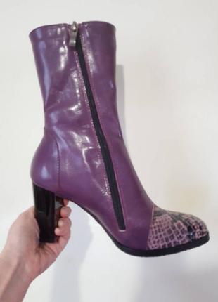 Кожаные ботинки с модным носком - рептилия.3