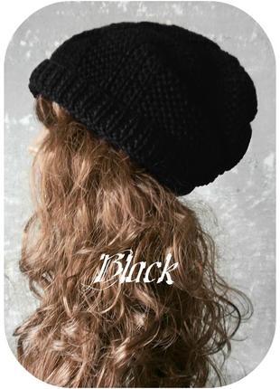 Любая расцветка! хлопковая фактурная шапка beanie с отворотом/косы/чёрного цвета