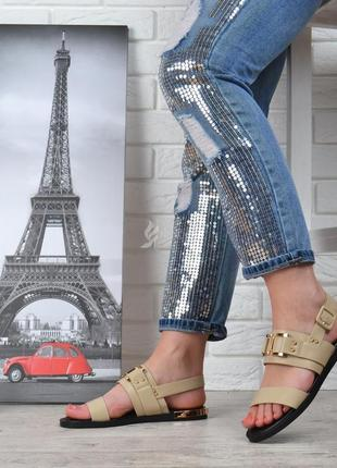 Босоножки женские бежевые классические backate elite на маленьком каблуке