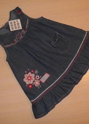 Джинсовое  платье, сарафан h&m, 3-6 мес 62-68 см, оригинал