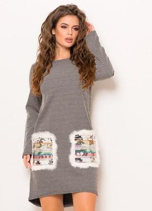 Роскошное платье с гламурными карманами: паетки+натуральный мех кролик!