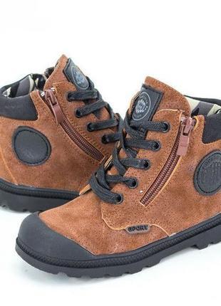 Ботинки демисезонные jong golf на шнуровке и змейке темно-коричневые