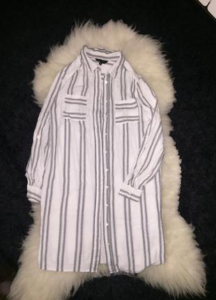 Белое платье рубашка в вертикальную полоску под почс