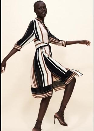 Платье миди  рубашка полосатое на поясе zara оригинал