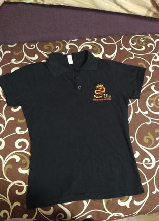 Чёрная женская футболка с драконом и надписью
