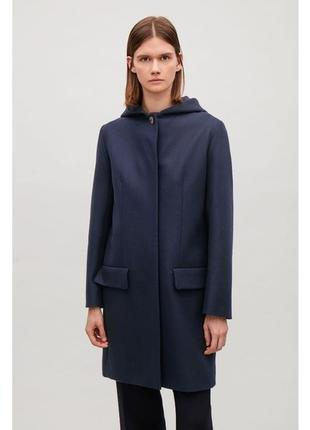 Пальто с капюшоном шерсть cos 526334001 синий бордо