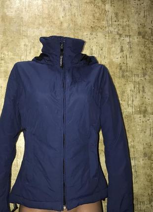 Синяя спортивная куртка,короткая куртка с капюшоном