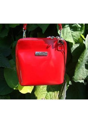 Шикарная женская кожаная сумка toscanio-италия  01l красный