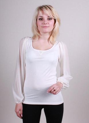 Нарядная кофта-блуза с красивой спинкой белая и черная 42 размера