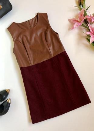 Крутое комбинированное платье с кожаным верхом