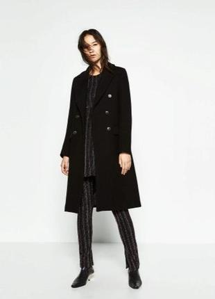 Черное пальто шинель zara s,черное шерстяное двубортное пальто