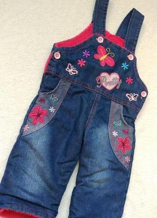 Новый джинсовый комбинезон штаны на меху турция на 6-12 мес
