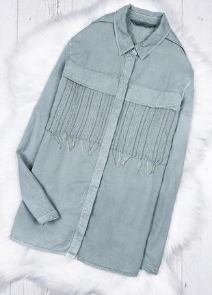 Крута сорочка-бойфренд пастельно-мятного кольору zara