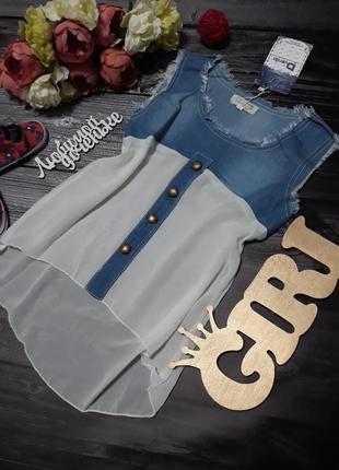 Стильная туника джинс с шифоном.р 4-5-6-7 лет