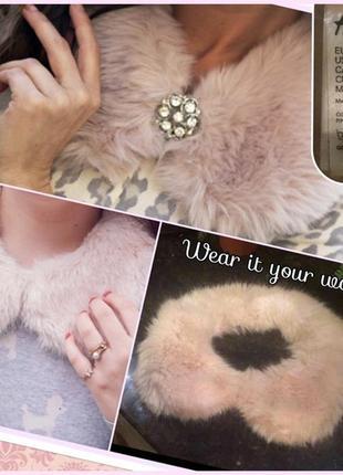 Воротник пудровый меховый аксессуар для кофты или пальто h&m