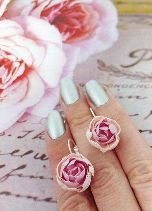 Серьги розовые пионы.много украшений у меня на странице!