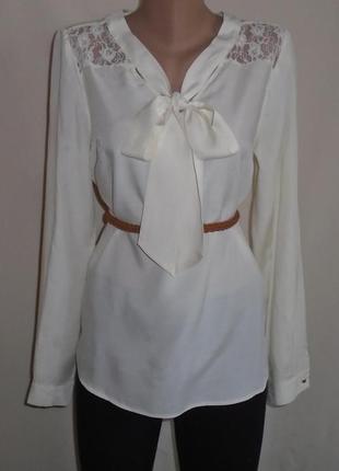 Нарядная блуза с кружевним верхом/гипюровая/блузка з мереживом