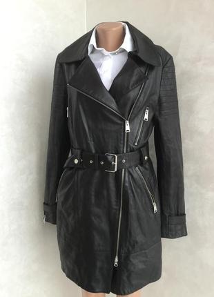 Кожаное пальто тренч плащ оригинал италия на м-l размер