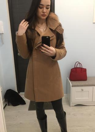 Пальто зима-осень с натуральным мехом