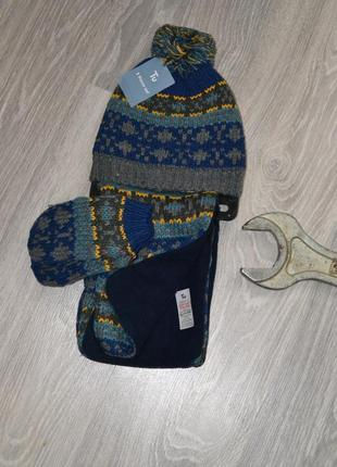 Комплект tu шапка шарф рукавицы