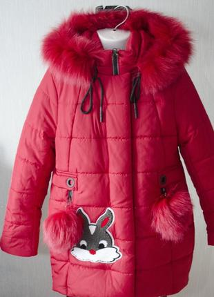 Очень стильное зимнее пальто с зайцем