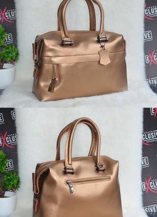 Золотистая сумка из натуральной кожи саквояж, бесплатная доставка