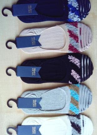 Следы женские с мягкими цветными вставками и вставками сеточки на носке
