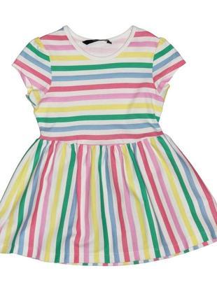 Новое полосатое платье с коротким рукавом для девочки, george, 805307