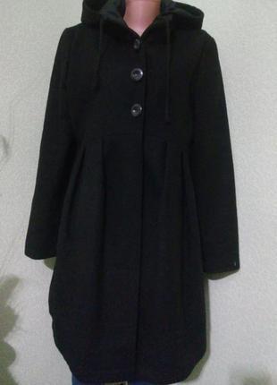 Стильное шерстяное демисезонное пальто с капюшоном 48-50