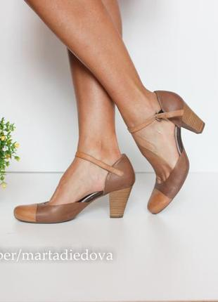 Кожаные туфли босоножки, натуральная кожа полностью, бренд marc