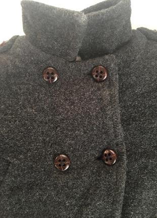Пальто шерстяное темно-серое утепленное куртка 6-9мес 74см