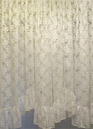 Готовая белая гардина (тюль) с оборкой 5,8 х 1,45 м