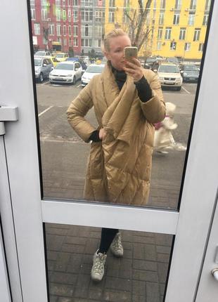 Золотой пуховик. пуховик-одеяло. зимнее пальто. срочно продам!