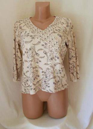 Блуза трикотажная бежевая цветочный принт бисер *debenhams* 48-50р