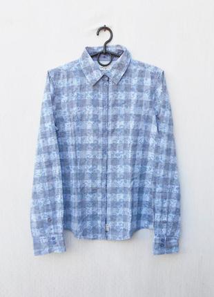 Хлопковая приталенная рубашка с воротником в клетку с длинным рукавом