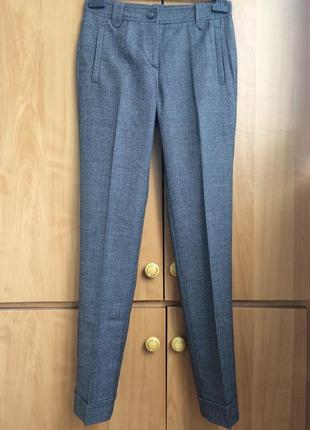 Шерстяные брюки сигареты с отворотом,принт,marc cain,34/xs