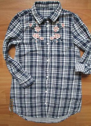 Удлинённая рубашка pep&co с вышивкой на 7-8 лет