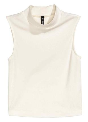 Топ в рубчик белый/футболка без рукавов/белая майка h&m