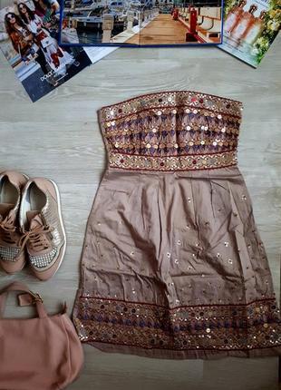 Хлопковый сарафан в пайетках / сарафан с вышивкой