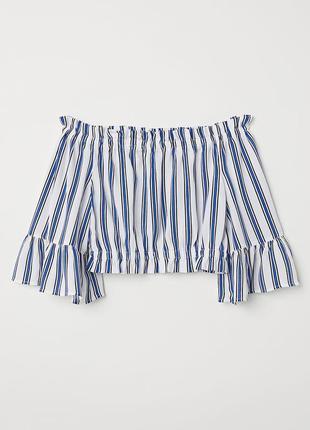 Ажурный топ в полоску/короткая блузка/футболка с расклешенными рукавами в полоску h&m