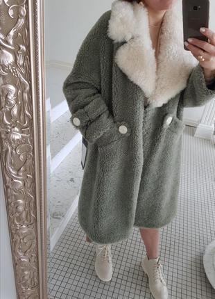 Пальто шуба натуральный мех овчина пастельная оливковая
