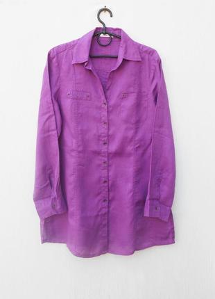 Льняная летняя рубашка с воротником с длинным рукавом