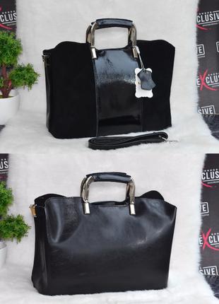 Красивая кожаная сумка с замшевым декором черная