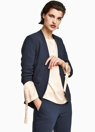 Супер цена !!! распродажа! приталенный жакет/синий пиджак с длинным рукавом h&m