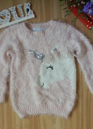 Фирменный пушистый свитер primark малышке 4-5 лет состояние отличное