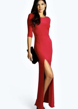 efb4873b794 Шикарное яркое нарядное длинное красное платье макси на праздник размер s  от boohoo