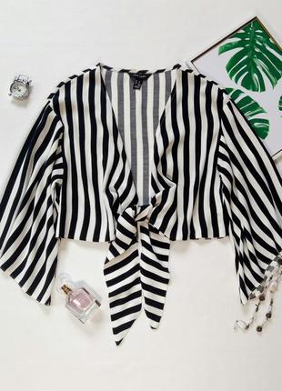 Блуза с принтом в полоску,  топ с завязкой