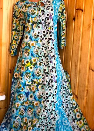 Вся в цветах длинная пляжная туника-платье из хлопка индиано